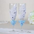 Набор свадебных бокалов, с кружевом и тройным цветочком, голубой