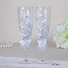 Набор свадебных бокалов, с кружевом и тройным цветочком, белый