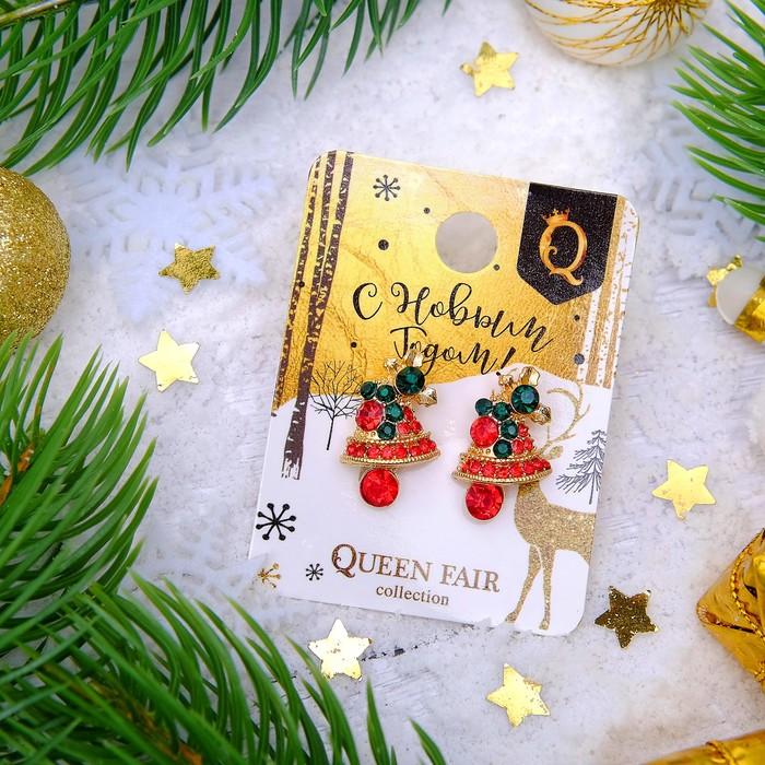 """Серьги """"Новогодние"""" колокольчики, цвет красно-зелёный в золоте"""