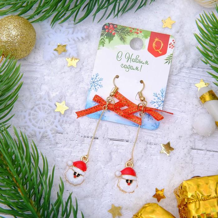 """Серьги """"Новогодние"""" дед мороз с бантиком, цвет бело-красный в золоте"""