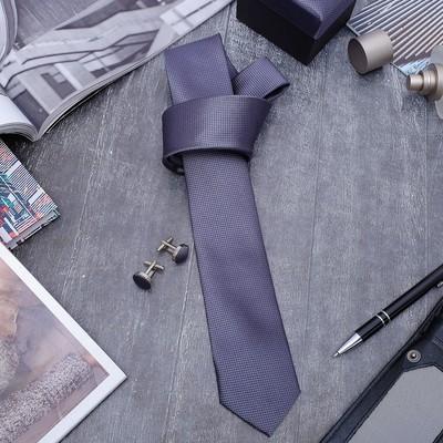"""Набор мужской """"Премьер"""" галстук 145*5см, запонки, мелкий квадрат, цвет серый металлик"""