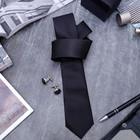"""Набор мужской """"Премьер"""" галстук 145*5см самовяз, запонки, мелкий квадрат, цвет чёрный"""