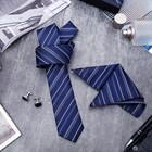 """Набор мужской """"Элит"""" галстук 145*5см самовяз, платок, запонки, полоски, цвет сине-серебристый"""