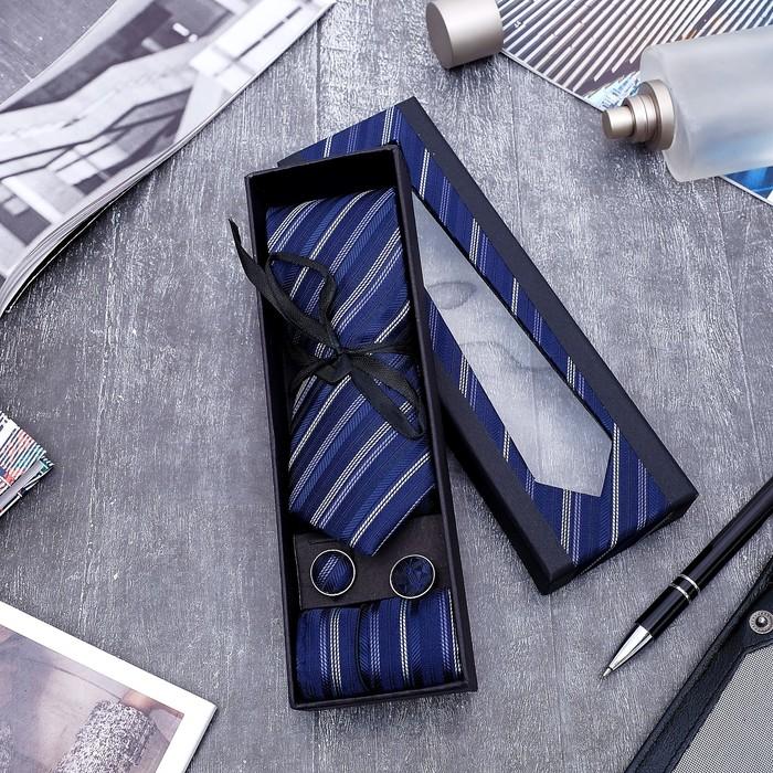 """Набор мужской """"Элит"""" галстук 145*5см самовяз, платок, запонки, полоски, цвет сине-серебристый - фото 405868802"""