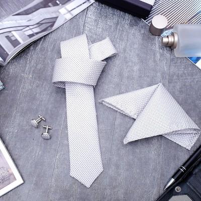 """Набор мужской """"Элит"""" галстук 145*5см самовяз, платок, запонки, клетка мелкая, цвет серый"""