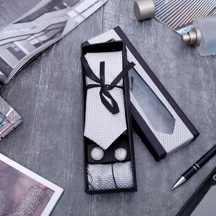 """Набор мужской """"Элит"""" галстук 145*5см самовяз, платок, запонки, клетка мелкая, цвет серый - фото 509544212"""