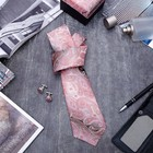 """Набор мужской """"Стиль"""" галстук 145*5см самовяз, запонки, персидский кипарис, цвет розово-серый"""