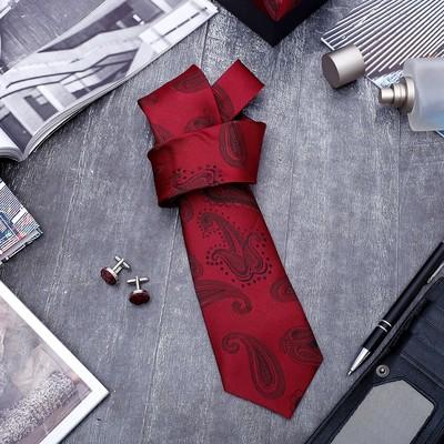 """Набор мужской """"Стиль"""" галстук 145*5см самовяз, запонки, турецкий огурец, цвет бордовый"""