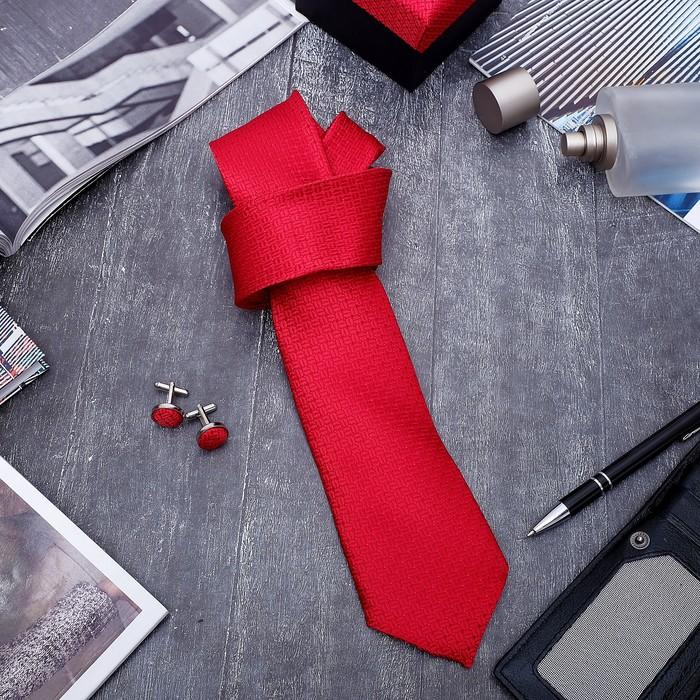 """Набор мужской """"Стиль"""" галстук 145*5см самовяз, запонки, зерна, цвет красный"""