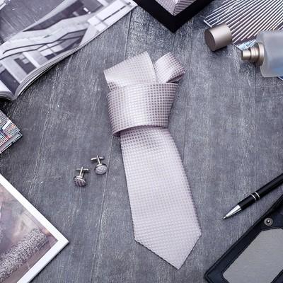 """Набор мужской """"Стиль"""" галстук 145*5см самовяз, запонки, крапинка, цвет серо-розовый"""