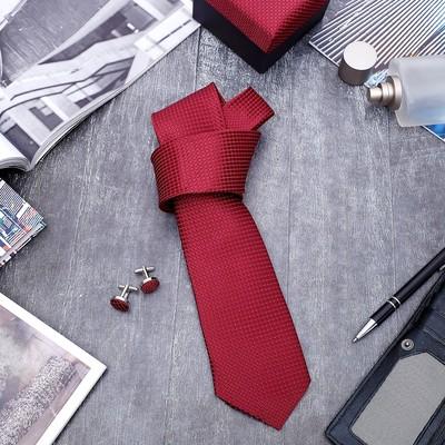 """Набор мужской """"Стиль"""" галстук 145*5см, запонки, крапинка, цвет бордово-серебристый"""