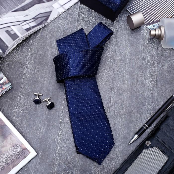 """Набор мужской """"Стиль"""" галстук 145*5см самовяз, запонки, крапинка, цвет сине-серебристый"""
