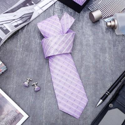"""Набор мужской """"Стиль"""" галстук 145*5см, запонки, линии, цвет сиреневый"""