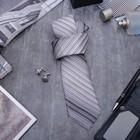 """Набор мужской """"Стиль"""" галстук 145*5см самовяз, запонки, линии, цвет серый"""