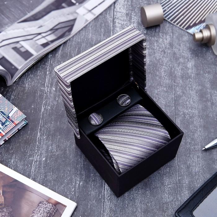 """Набор мужской """"Стиль"""" галстук 145*5см самовяз, запонки, линии, цвет серый - фото 448785301"""