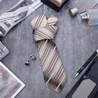 """Набор мужской """"Стиль"""" галстук 145*5см самовяз, запонки, полоски, цвет серо-коричневый"""