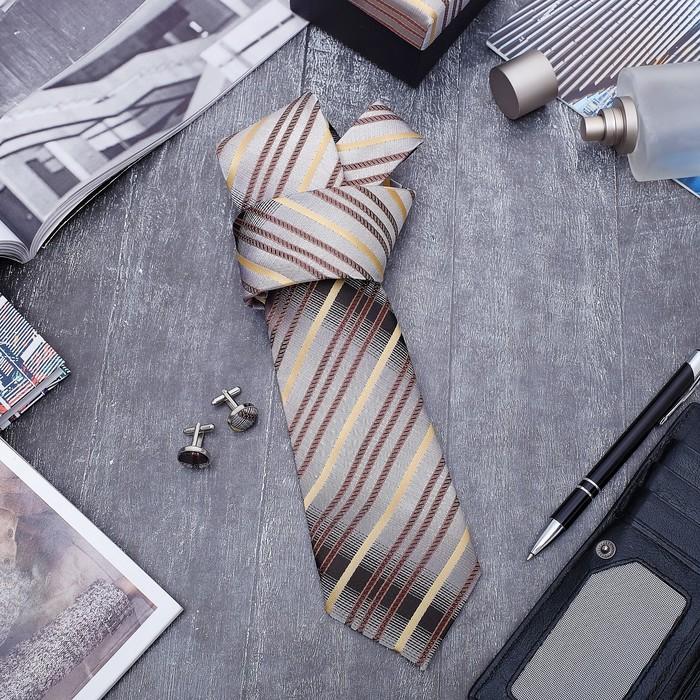 """Набор мужской """"Стиль"""" галстук 145*5см самовяз, запонки, полоски, цвет серо-коричневый - фото 683201631"""