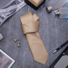 """A set of men's """"Style"""" tie 145*5cm samosas, cufflinks, lines, subtle, color: Golden"""