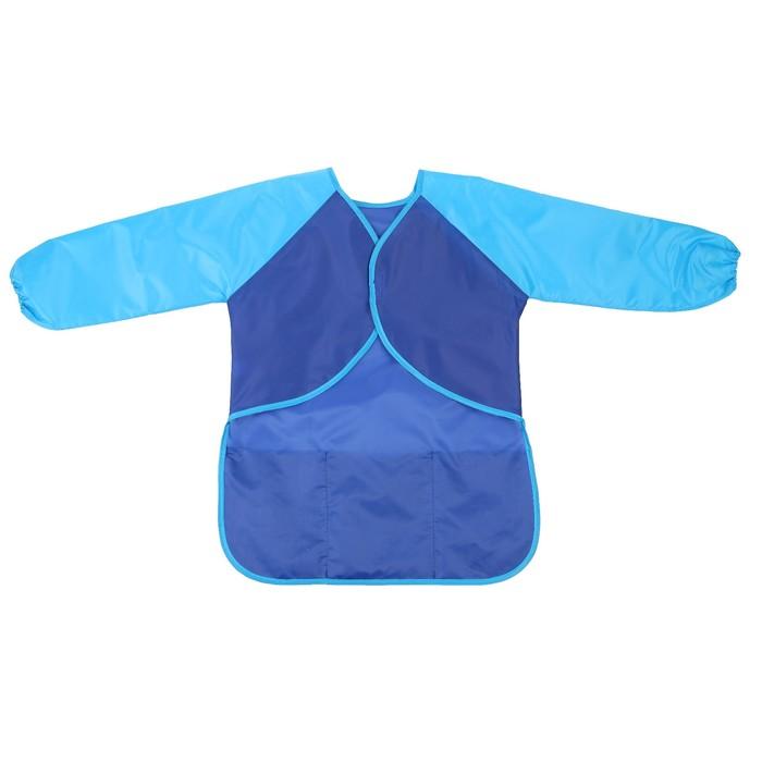Фартук детский для творчества с рукавами и карманами, на липучке, размер M, цвет синий - фото 405930229