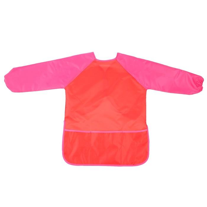 Фартук детский для творчества с рукавами и карманами, на липучке, размер M, цвет красный