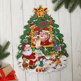 """Poster """"Christmas Tree"""" Santa Claus in the window 24*32 cm"""