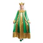 """Карнавальный костюм """"Царевна"""", атлас, платье, корона, р-р 44, рост 172 см, цвет зелёный"""