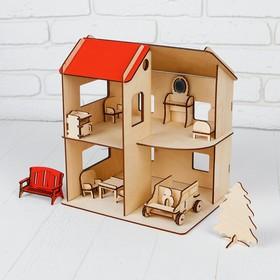 Домик фанера с машинкой и мебелью, 1-ый этаж: 12,5 см; 2-ой этаж: 17 см