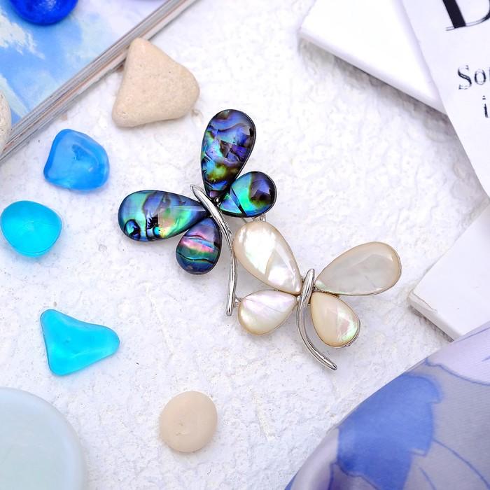 """Брошь """"Галиотис"""" пара бабочек, цветная"""