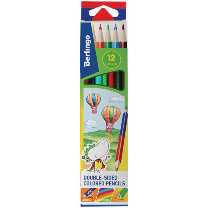 Карандаши 6 штук х 12 цветов, Berlingo «Воздушные шары», двухсторонние, трёхгранные, картонная упаковка, европодвес