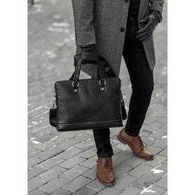 Сумка мужская, отдел на молнии, отдел для планшета, наружный карман, регулируемый ремень, цвет чёрный