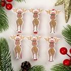 """Прищепки новогодние """"Весёлый олень"""", набор 6 шт."""