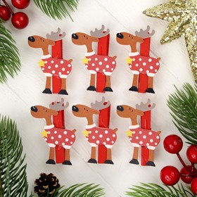 """Clothespin Christmas """"Reindeer with star"""", set of 6 PCs"""