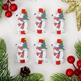 "Clothespin Christmas ""polar bear"", set of 6 PCs"