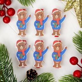 """Прищепки новогодние """"Мишка с подарочком"""", набор 6 шт."""