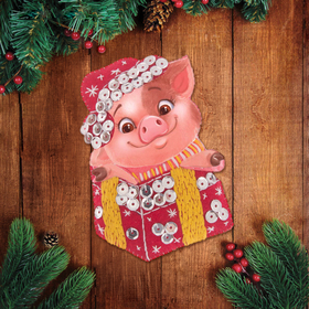 """Christmas toy, set to create pendants out of felt """"Piggy """""""