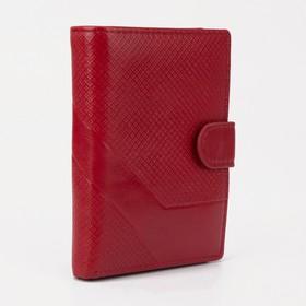Обложка для автодокументов и паспорта, отдел для купюр, карманы для карт, отдел для монет, цвет красный