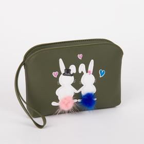 Клатч-косметичка, отдел на молнии, с ручкой, цвет зелёный