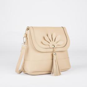 Сумка женская, отдел на молнии, наружный карман, регулируемый ремень, цвет бежевый