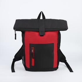 Рюкзак молодёжный, отдел на молнии, наружный карман, 2 боковые сетки, цвет чёрный/вишнёвый
