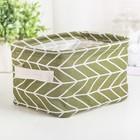 Корзина для хранения с ручками «Зигзаг», 20×16×14 см, цвет зелёный - фото 152398055