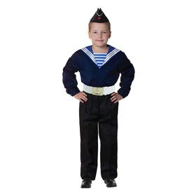 "Carnival costume ""Sailor in his cap"" for a boy, blue flank, pants, belt, size 32, height 122-128 cm"
