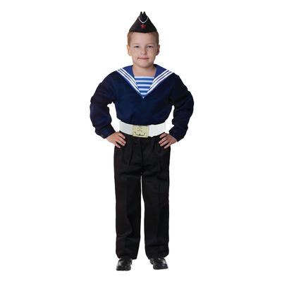 Карнавальный костюм «Моряк в пилотке» для мальчика, синяя фланка, брюки, ремень, р. 32, рост 122-128 см