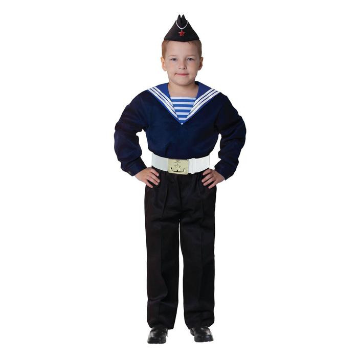 """Карнавальный костюм """"Моряк в пилотке"""" для мальчика, синяя фланка, брюки, ремень, р-р 32, рост 122-128 см"""