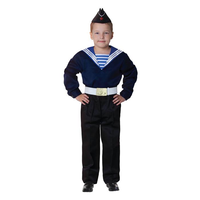 """Карнавальный костюм """"Моряк в пилотке"""" для мальчика, синяя фланка, брюки, ремень, р-р 34, рост 134 см"""