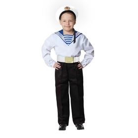 Карнавальный костюм «Моряк в бескозырке» для мальчика, белая фланка, брюки, ремень, р. 28, рост 98-104 см