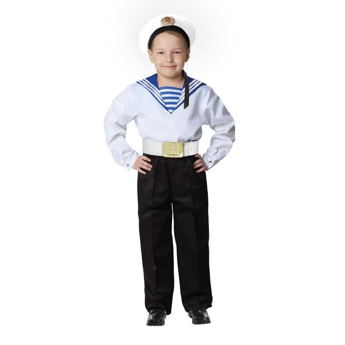 """Карнавальный костюм """"Моряк в бескозырке"""" для мальчика, белая фланка, брюки, ремень, р-р 30, рост 104-110 см"""