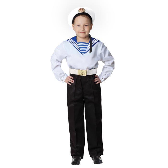 Карнавальный костюм «Моряк в бескозырке» для мальчика, белая фланка, брюки, ремень, р. 32, рост 110-116 см