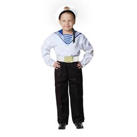 Карнавальный костюм «Моряк в бескозырке» для мальчика, белая фланка, брюки, ремень, р. 32, рост 122-128 см