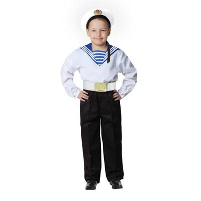 Карнавальный костюм «Моряк в бескозырке» для мальчика, белая фланка, брюки, ремень, р. 40, рост 146 см