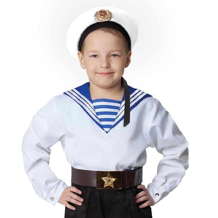 """Морская рубашка """"Фланка"""", детская, р-р 32, рост 122-128 см, цвет белый"""